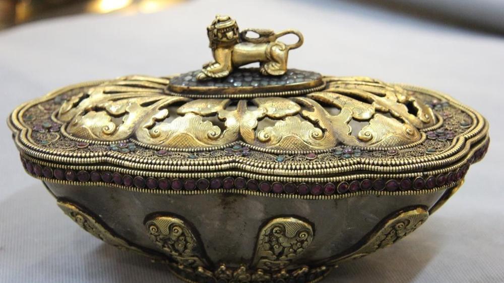Natural Crystal Original Carving Inlay Gem Gold Gilt Kapala Skull Cup Bowl Plate