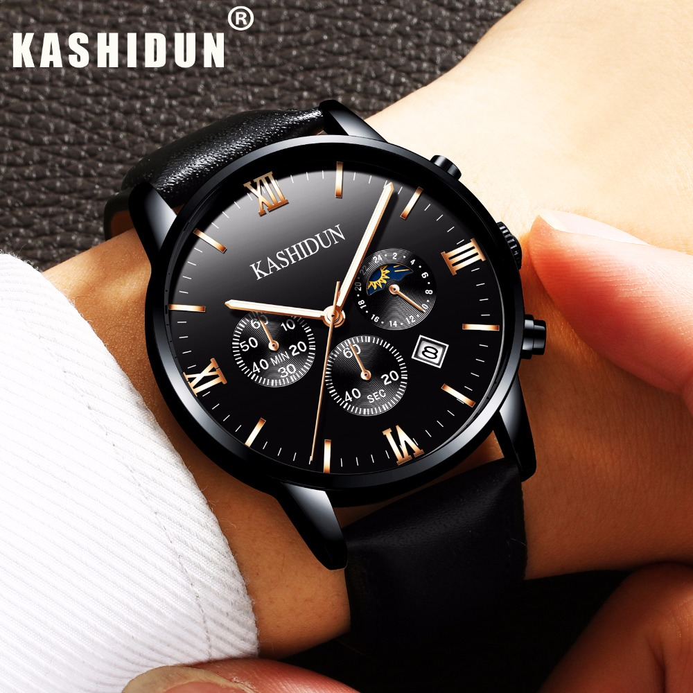 KASHIDUN Men s Watches Top Brand Luxury Military Luminous Casual Wristwatch Chronograph Leather Quartz Watch relogio