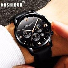 KASHIDUN. Relojes de Primeras Marcas de Lujo de los hombres Militares Ocasionales Luminosos Reloj Cronógrafo De Pulsera de Cuero Reloj de Cuarzo relogio masculino