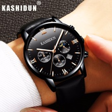 KASHIDUN. Men's Watches Top Brand Luxury Military Luminous Casual Wristwatch Chronograph Leather Quartz Watch relogio masculino