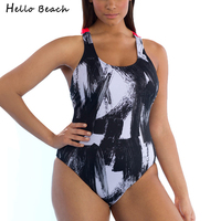 HELLO BEACH 2018 Plus Size Swimwear Women Female Retro Bathing suit Backless Push Up Beachwear Large Size One Piece Swimsuits
