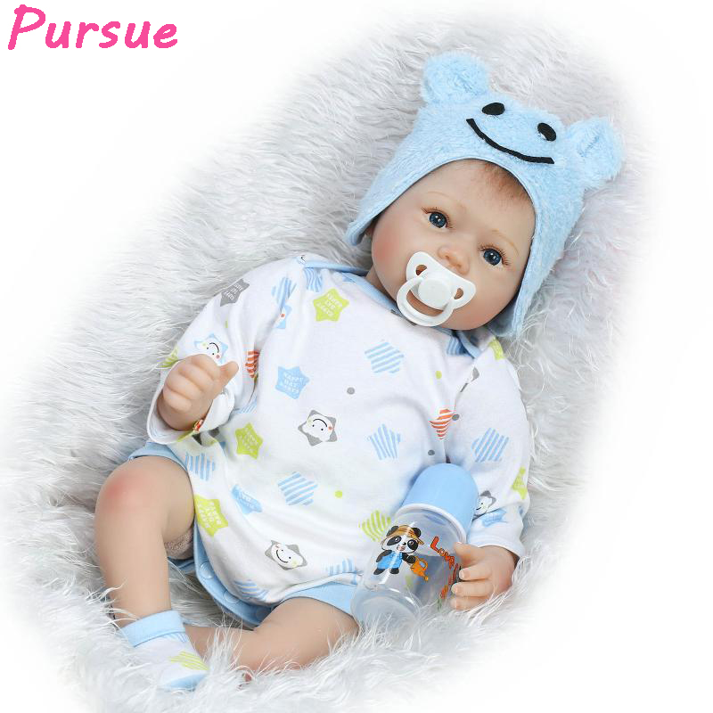 Pursue 22/55cm Lifelike Reborn Dolls Boy Girl Toy Realistic Education American Baby Reborn Doll for Gift  Christmas Doll Blue [mmmaww] christmas costume clothes for 18 45cm american girl doll santa sets with hat for alexander doll baby girl gift toy