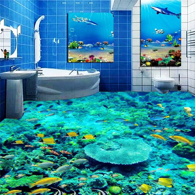 Beibehang fish underwater world toilet photo floor for Bathroom floor mural sky
