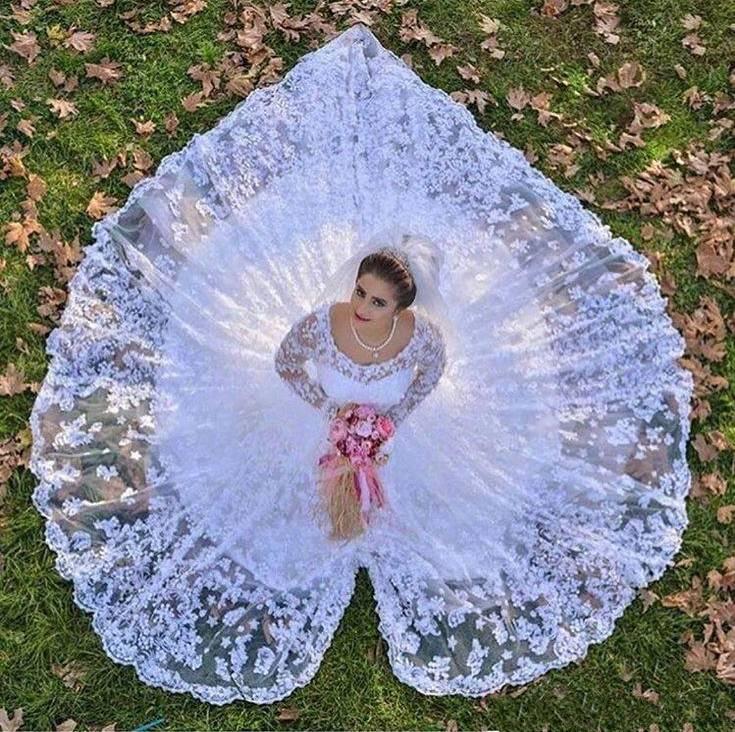 Романтические кружевные свадебные платья трапециевидной формы, арабские винтажные Свадебные платья с длинными рукавами, свадебное платье
