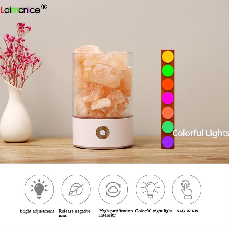 USB Natural Himalayan Salt Lamp Led Lava Lamp for Home Indoor Warm Crystal Salt Lamp Table Bedroom Bedside Fixtures Decor