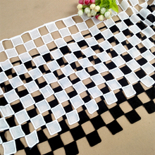 17cm Wide Exquisite Chess Plaid Style Jacquard Lace Fabric DIY Clothing Dress Skirt Hem Decoration Trims And Fringes