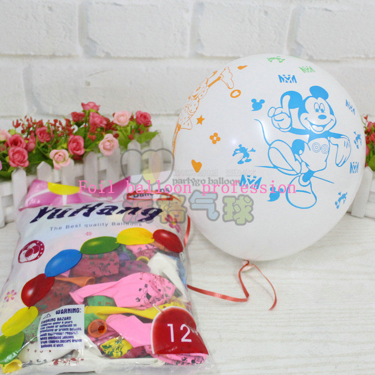 50pcs/lot 2.8g 12inch Happy Birthday Balloons Mickey and Minnie Mouse latex Balloons new Year decoration air balloon globos