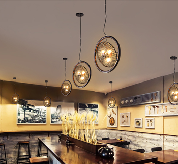 Industrial retro Loft style iron fan pendant lamp Nordic American country pubs study  Suspended Luminaire E27 110-240V