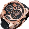 2016 Men Digital Quartz Watch 3 Time Zone Sub-dial Leather Strap Rose Gold Oversize Case Military Luxury Watches for Men + Box
