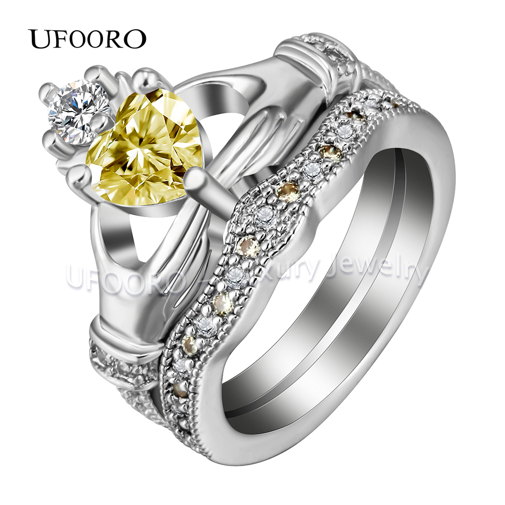 Ufooro Claddagh Style Hand To Heart Ring White Gold Color Yellow Cz Crown  Crystal Love Wedding Rings Sets For Women Men