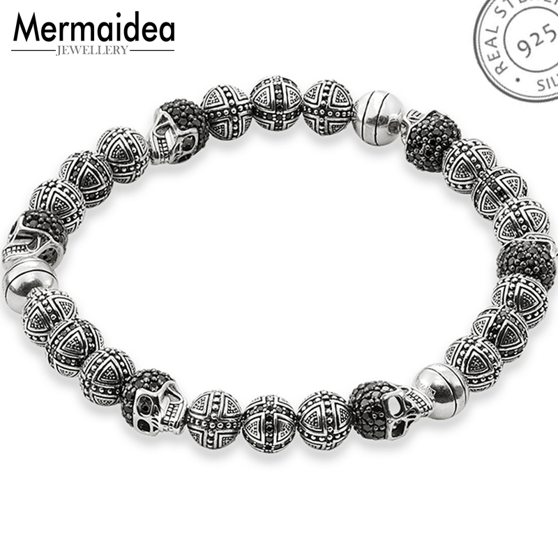 Skull Rebel Cross Beads Strand Bracelets Bracelet Jewelry For Men Fashion Punk Gift Pure 925 Sterling SilverSkull Rebel Cross Beads Strand Bracelets Bracelet Jewelry For Men Fashion Punk Gift Pure 925 Sterling Silver