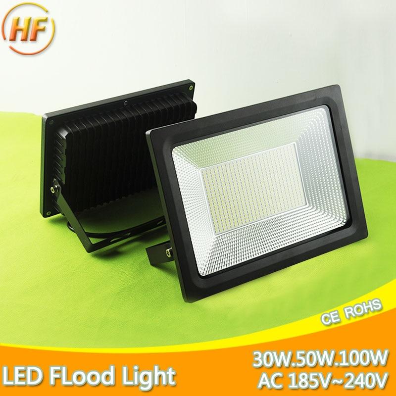 Ultra Bright Thin 220V LED Flood Light 100W 50W 30W 20W 10W Waterproof IP66 Floodlight Spotlight Outdoor Lighting 185-240V