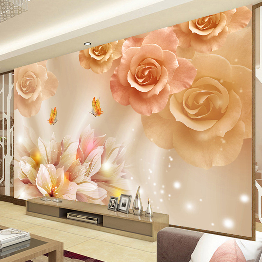 Custom Mural HD Butterfly in Love Living Room Sofa TV Background Wall Papers Home Decor Modern Bedroom Decoration Wallpaper 3D