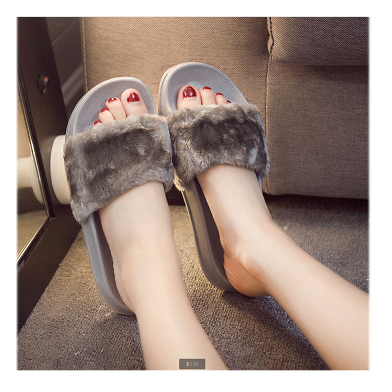 Home Furnishing Women's Fur Slippers Fashion Faux Fur Slides Zapatos Mujer Sandals Indoor Plush Flip Flop Flat Shoes Size36-41 цена 2017