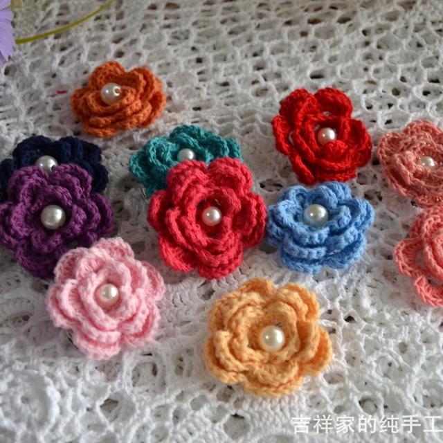 Free Shipping 10piclot 3d Flowers Crochet Hairwear For Girl Crochet