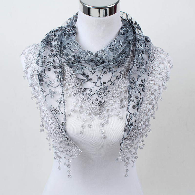 Fashion Hollow Tassel Lace Rose Floral Knit Triangle Mantilla Scarf Women Shawl Wrap Scarves SJJ01
