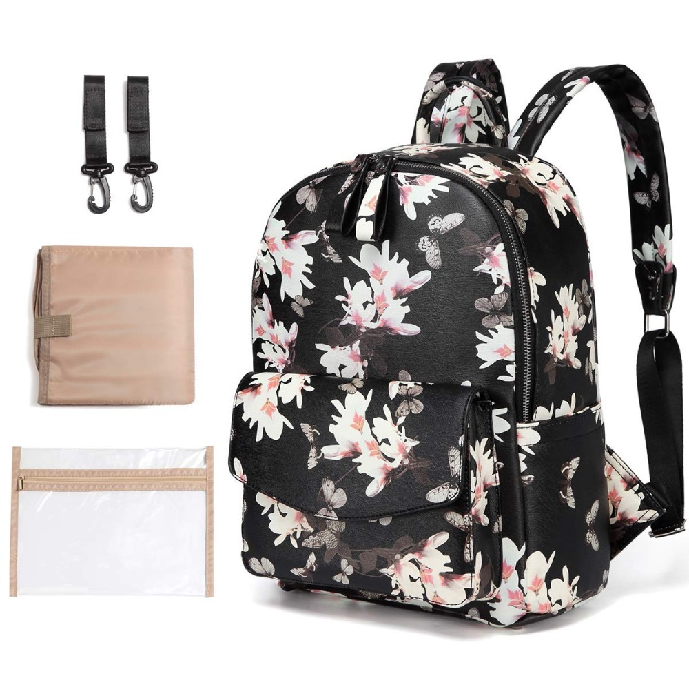 Kzni Diaper Bag Backpack, Genuine Leather Multi-function Waterproof Maternity Baby Nappy Tote Bags For Mom Durable Mami2