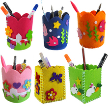 2pcs Children's hand-made cloth art brush pot three-dimensional creative DIY toys pen holders paste nonwoven materials