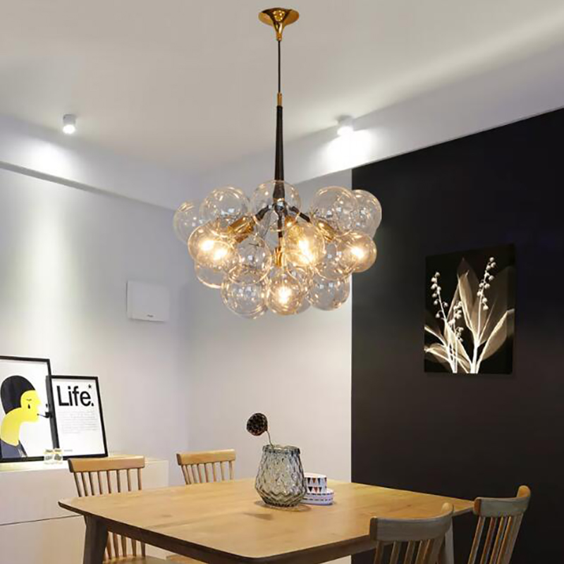 Post-modern creative living room Pendant Lights for Restaurant/hotel 9/12/18 heads transparent glass ball pendant lamp gilbert e big magic creative living beyond fear