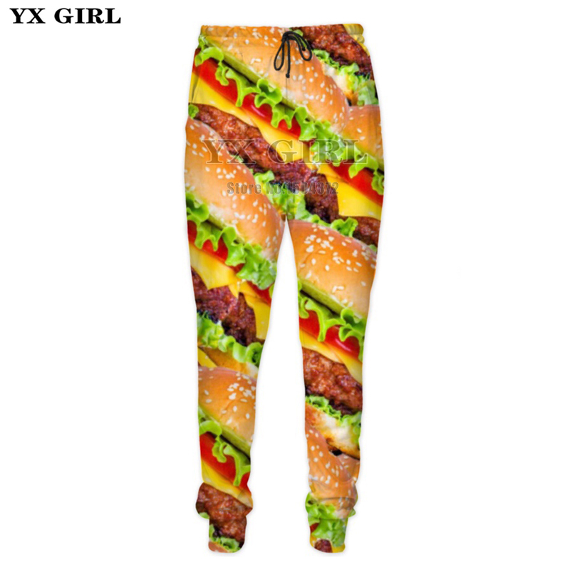 YX Girl 3d Food Sweat Pants Mens Hamburger/Pizza/Meat/French Fries Sweatpants Men Track Pants Fitness Joggers Hip Hop Streetwear