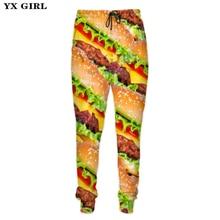 YX Girl 3d Food Sweat Pants Mens Hamburger/Pizza/Meat/French Fries Sweatpants Men Track Fitness joggers Hip Hop Streetwear