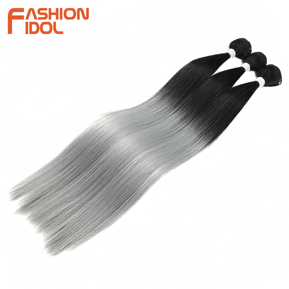 Moda idol pacotes de cabelo em linha reta com fecho de trama sintética do cabelo de yaki 22 polegada 4 unidades/pacote ombre prata cinza cabelo tecelagem pacotes