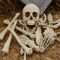 Plastic Halloween Skeleton 1 Bag of Bones 28PCS Simulation Human Bones Horror toys halloween props Haunted House Decorations