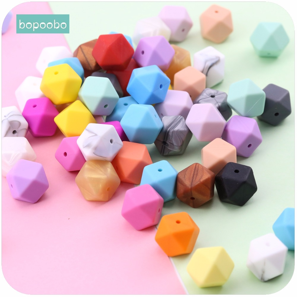 Bopoobo 5pc Baby Nursing Teether 17mm Silicone Octagonal Beads Can Chew DIY Jewelry Pram Toy Nursing Accessories Baby Teether let s make baby teether wood animal rattle organic teether jungle toy wooden waldorf toys diy accessories can chew baby teether