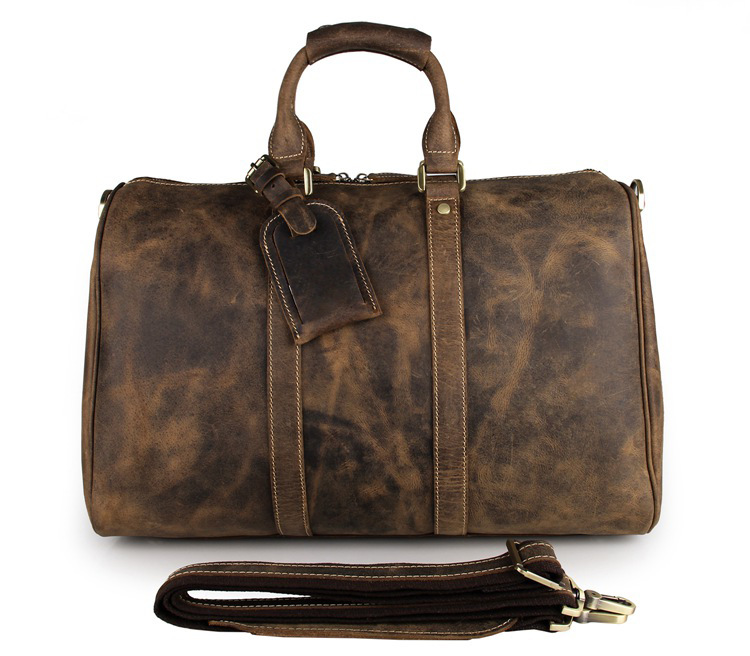 Vintage Men travel duffel Crazy horse genuine leather 18 inch big travel bag cow leather Boston