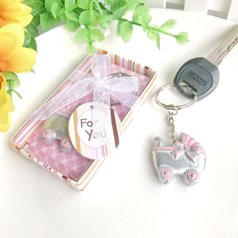Baby Shower party gift and giveaways for guests Baby Carriage Design Key Chains Birth Christening Gift
