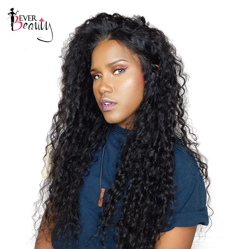 Ever Beauty Brazilian Loose Curly Lace Front Human Hair Wigs Pre Plucked Non-Remy Hair Natural Black 12-24inch