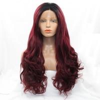 # 99J Two Tone Kolory Koronki Przodu Peruki Syntetyczne Włosy Ombre 1B/Burgundy Ciało Fala Naturalne Peruki Dla Kobiet Odporne Na ciepło
