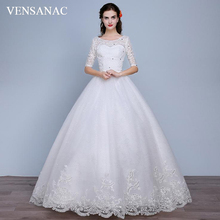 VENSANAC Crystal O Neck Bow Sash Ball Gown Wedding Dresses 2018 Lace Appliques Illusion Half Sleeve Backless Bridal Gowns