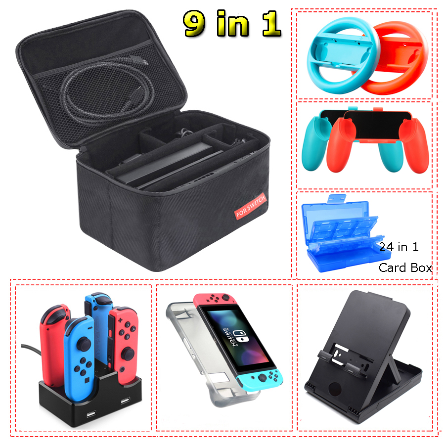 Nintend Switch Carrying Case Storage Bag & Joy-con Charger Handle Grips and Steering Wheels  for Nintendo Switch