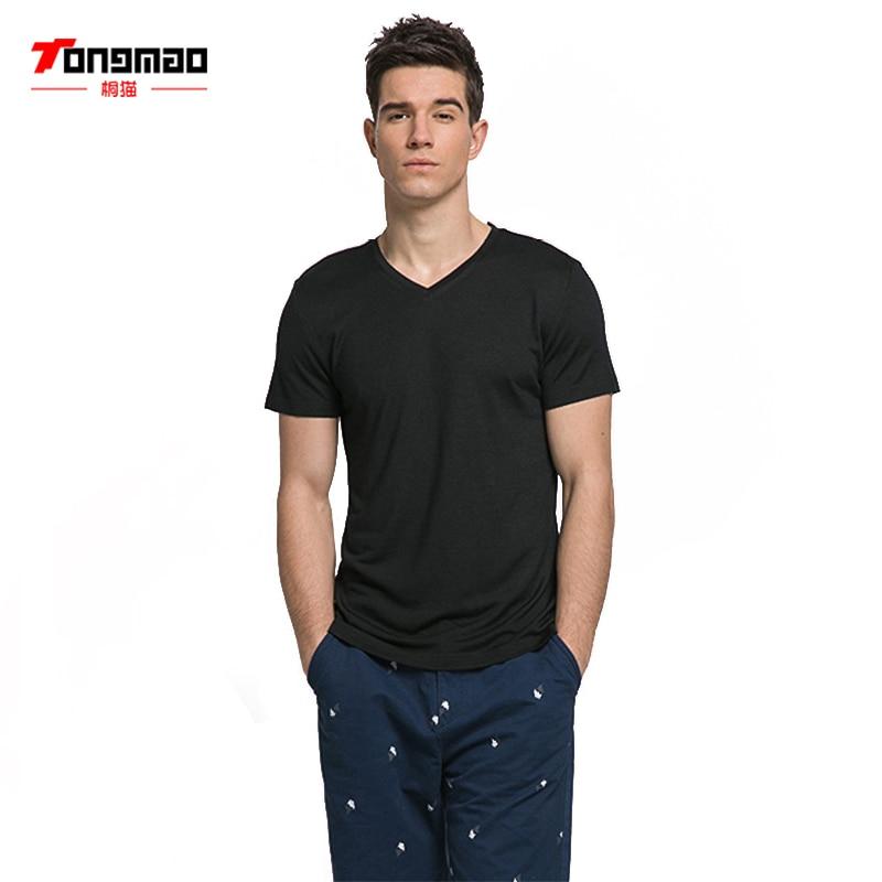 TONGMAO márka ruházat Nyári Új póló Bambusz szál Férfi Alkalmi ... 899338687e