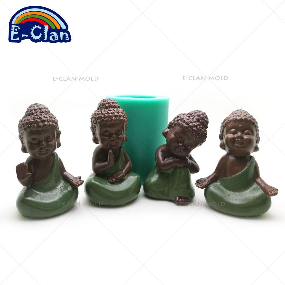 3D Budos statu silikono formų rankų darbo Budos statula muilo formų kepimo dekoratyvinių pyragų įrankių žvakė S0485HS-S0488HS25