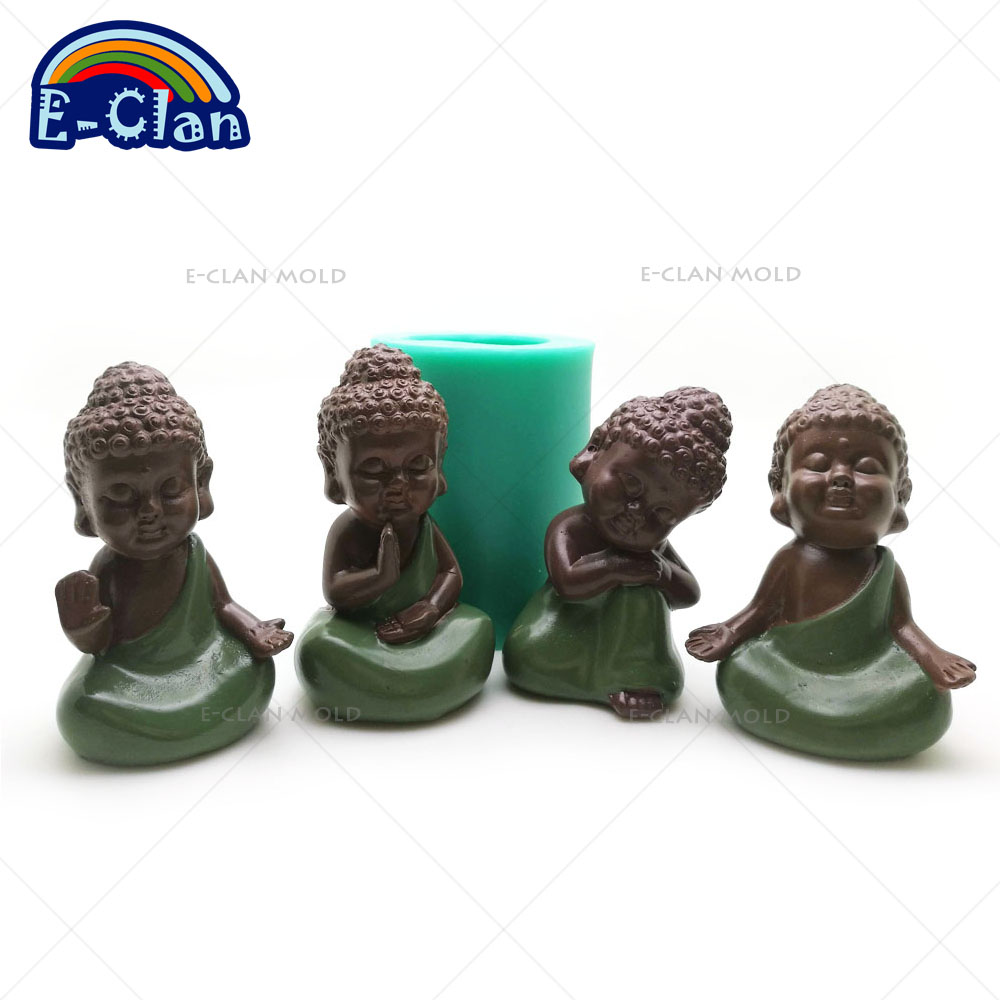 3D Buda statu molde de silicona hecho a mano estatua de buda molde de jabón para hornear pastel decorativo herramientas vela S0485HS-S0488HS25