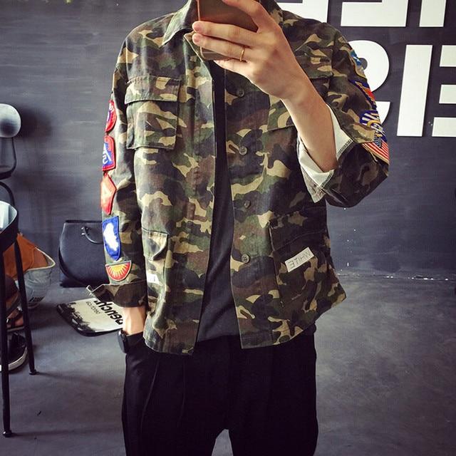 e488d8cc99 2015 New Fashion Denim Jacket Men Turn Down Collar Cotton Mens Camo Jean  Jacket With Multi Epaulets Camouflage Jackets Men Q1621