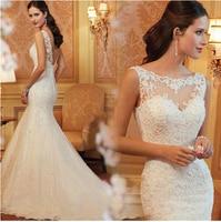 Lace Mermaid Wedding Dresses 2018 Floor length Sexy Backless Sequined Beading Bride Dress Plus Size vestido de noiva casamento