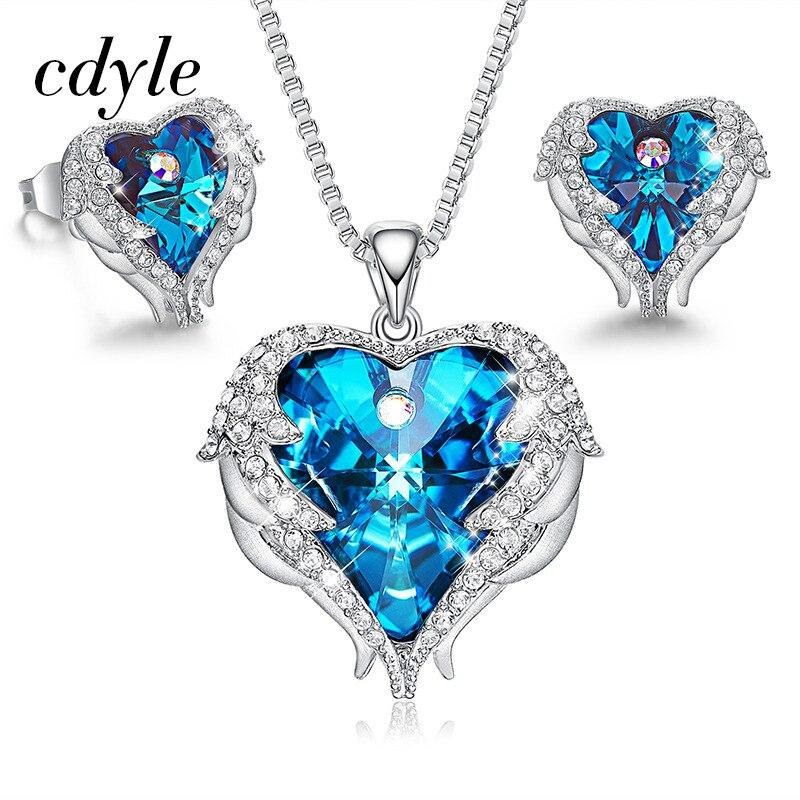 Cdyle Indicolite cristal de Swarovski bijoux ensembles ange aile coeur collier boucles d'oreilles bijoux ensemble femmes saint valentin cadeau