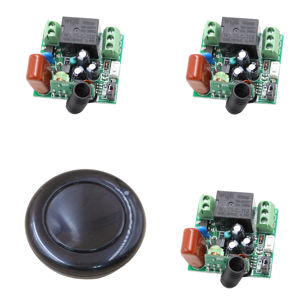 New Products 220 V Mini 1CH RF Wireless Remote Control Switch 3 Receiver+1 Transmitter Round 315/433mhz