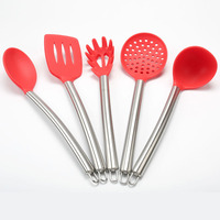 FDA Approved 5 PCS Silicone Cooking Utensil Set Stainless Steel Handle Heat Resistant Kitchen Non Stick