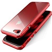 BOBYT für iPhone 7 8 Plus Auto Frame mit Zurück schutzscheibe Design Hybrid Gehäuse Fundas Cape Rot für iPhone7 8 plus