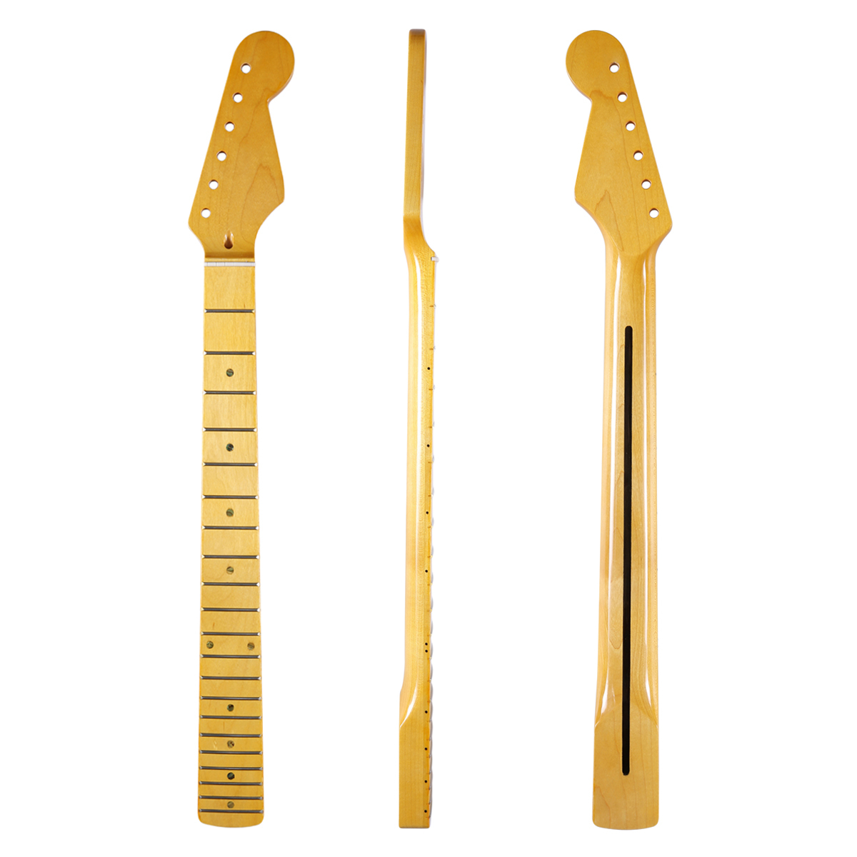 High Quality 21 Fret Glossy Canadian Maple 'U' Profile ST Strat Guitar Neck with Vintage 8mm Tuner Holes Abalone Inlay Bone Nut