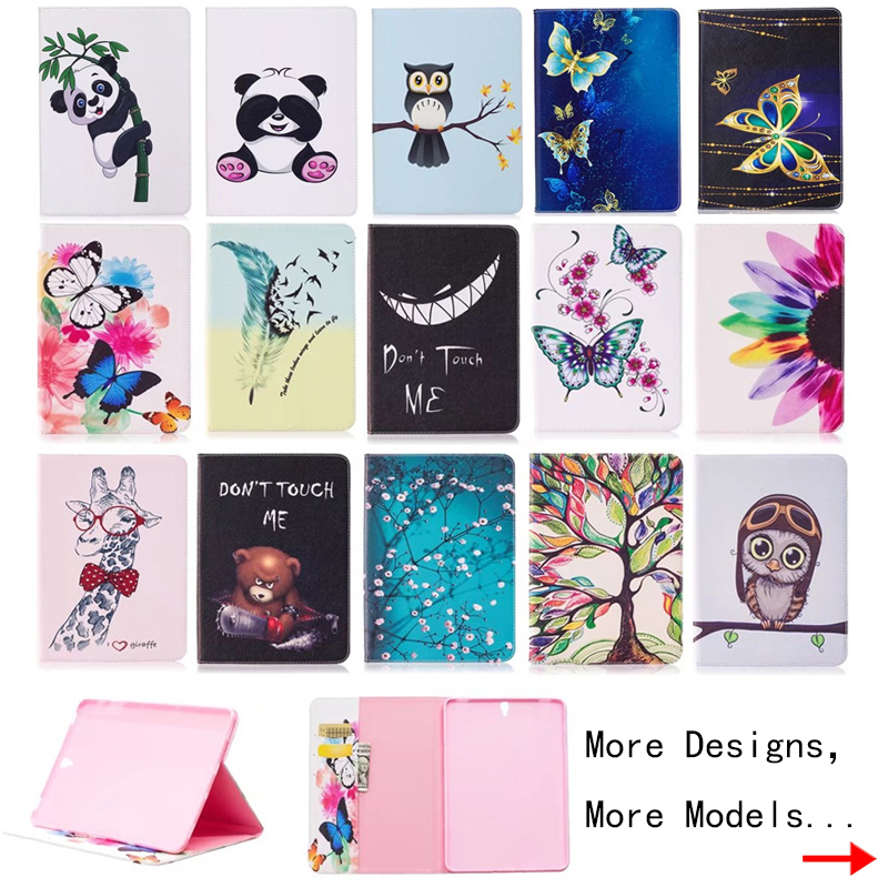 For Coque Samsung Galaxy Tab S3 9.7 T820 SM-T825 Case Cute Panda Owl Printed Folio Flip PU Leather Soft cover Tablet Kids Case аксессуар чехол samsung galaxy tab a 7 sm t285 sm t280 it baggage мультистенд black itssgta74 1