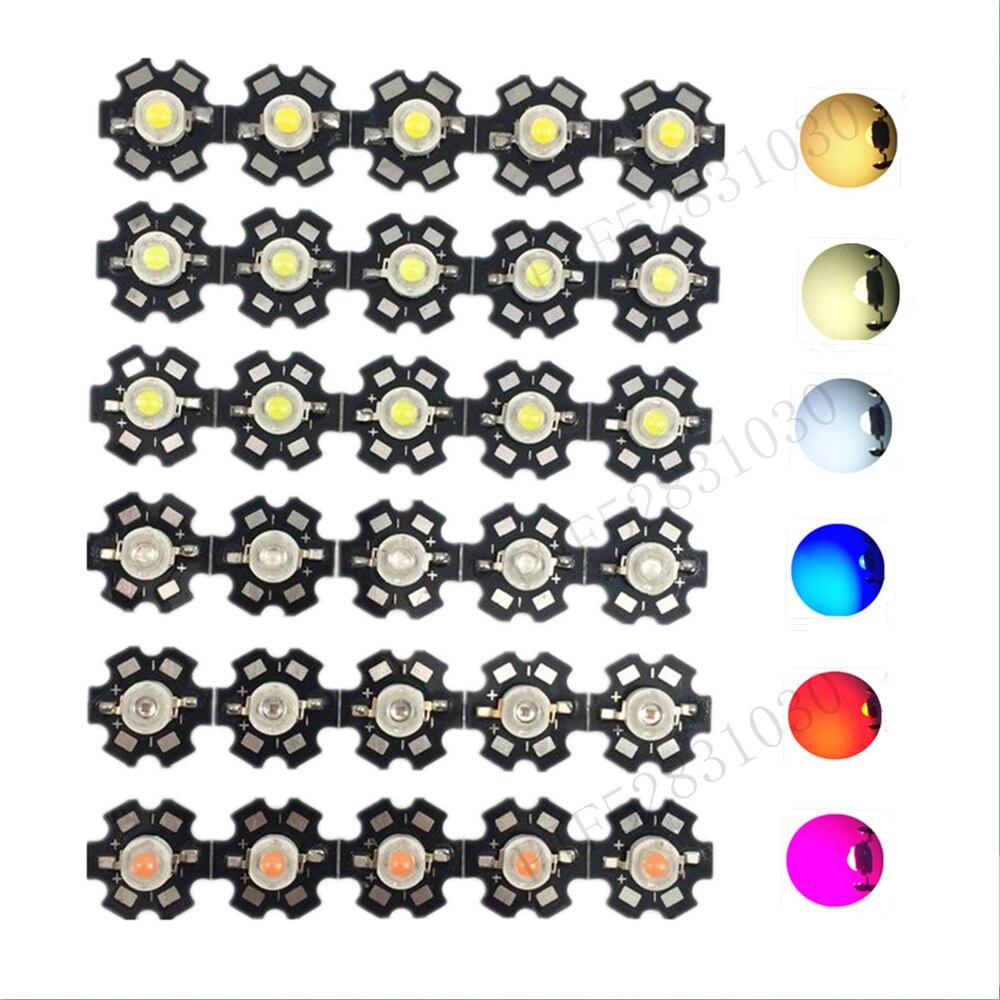 9e8846c95fc 50 unids 1 W 3 W Poder Más Elevado blanco caliente blanco fresco blanco  natural rojo verde  azul 660 UV IR850 940 LED con 20mm estrella PCB