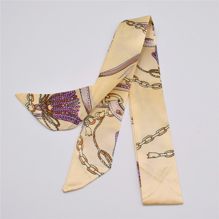 HTB1vzZPdk9E3KVjSZFGq6A19XXaI - Small Silk Scarf For Women New Print Handle Bag Ribbons Brand Fashion Head Scarf Small Long Skinny Scarves Wholesale