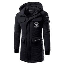 Мужская зима новый высококачественный тонкий капюшоном мужчин ТОП утолщение в долгосрочной пальто куртки прилив