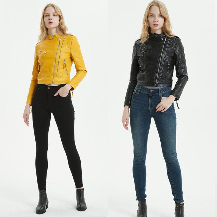 Motorcycle Soft Leather Jacket For Women Round Collar Yellow Slim Zipper Outerwear Faux PU Jacket Short Coats Hot Fashion 2019