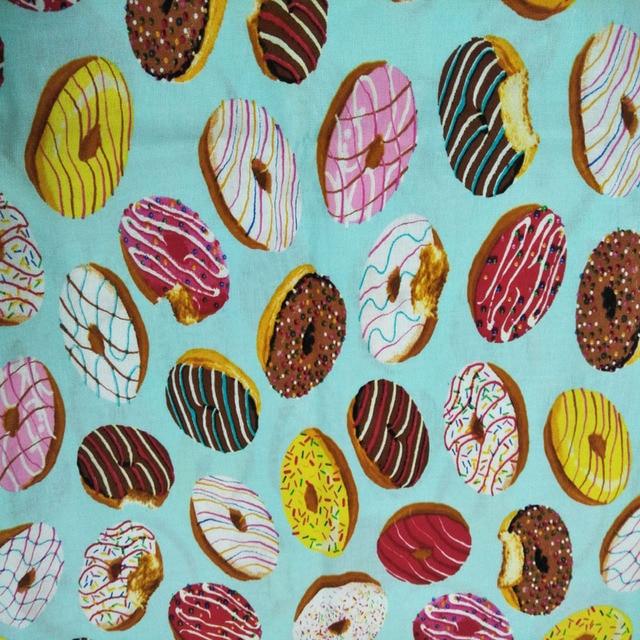 Dulce Comida De Dibujos Animados Coloridos Donuts Tela De Algodon
